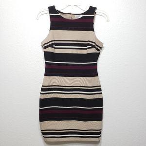 Honey & Rosie Beige Black Purple Striped Dress